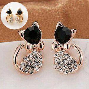 NEW Women Elegant Crystal Stud Rhinestone Earrings